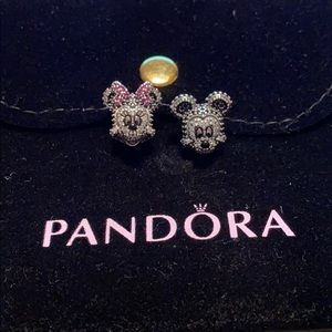 Authentic Pandora Pave Mickey and Minnie Charms